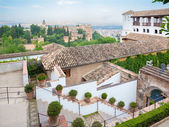 GRANADA, SPAIN - MAY 30, 2015: The outlook from the Generalife palace to Alhambra.