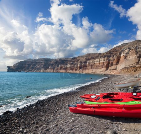 Santorini - The kayaks on the Black beach in south part of the island.