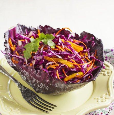 Photo pour Salade de chou. Salade au chou rouge, carotte, oignon rouge et betterave - image libre de droit