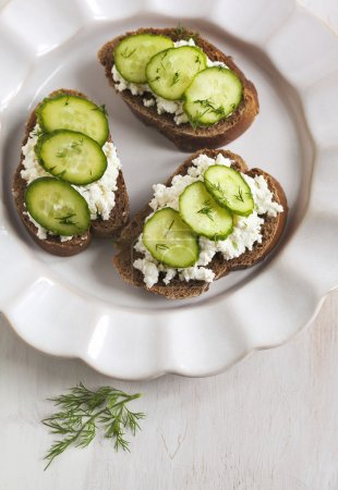 Photo for Sandwich with fresh cream cheese, cucumber and pink salt - Royalty Free Image