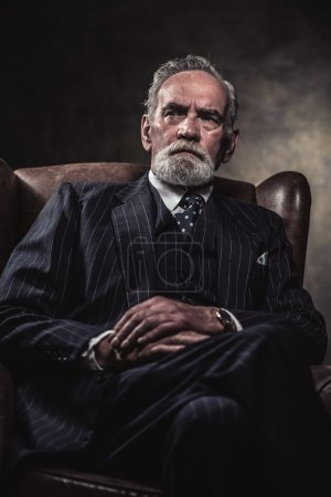 In chair sitting characteristic senior business man. Gray hair a