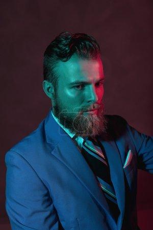 Stern bearded handsome man