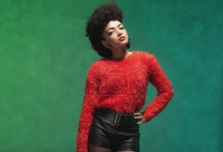 Woman Wearing Furry Red Shirt