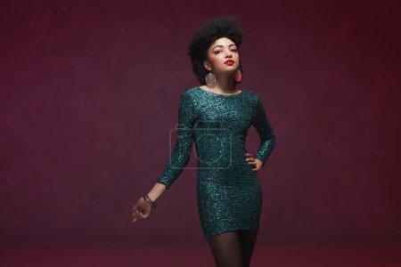 Three Quarter Shot of a Woman in Elegant Dress