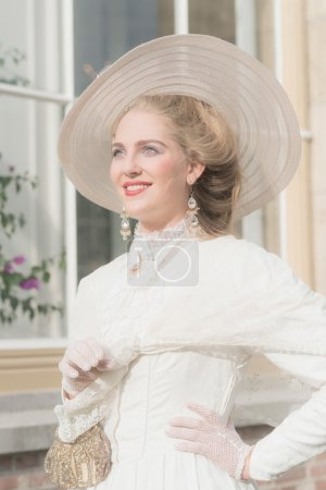 Smiling chic victorian woman