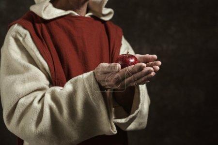 Close-up of monastic hands
