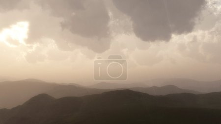 Mountain landscape in rain