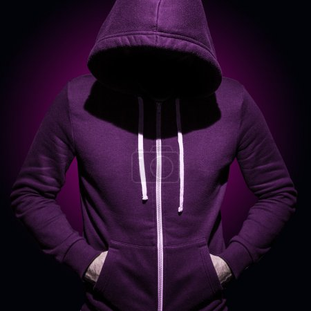 Photo for Low key image of a man in hoodie shirt - Royalty Free Image