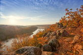 Mountain autumn landscape with Southern Bug river