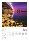 Photo calendar with minimalist cityscape and bridge  2015. July