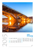 Photo calendar with minimalist cityscape and bridge 2015. May