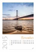 Photo calendar with minimalist cityscape and bridge 2015. November