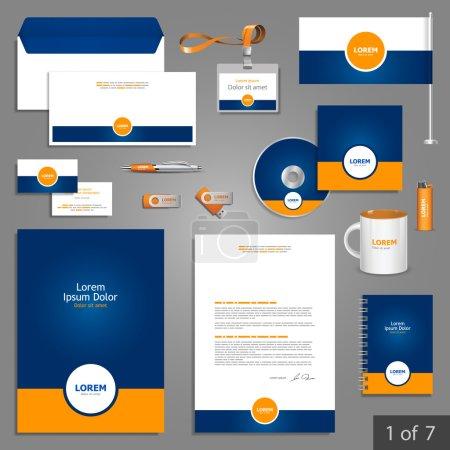 Illustration pour Identité d'entreprise. modèle modifiable identité corporative. papeterie bleu modèle de conception avec élément rond orange. documentation pour les entreprises. - image libre de droit