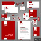 Corporate identity Editable corporate identity template Red stationery template design with white square elements Documentation for business
