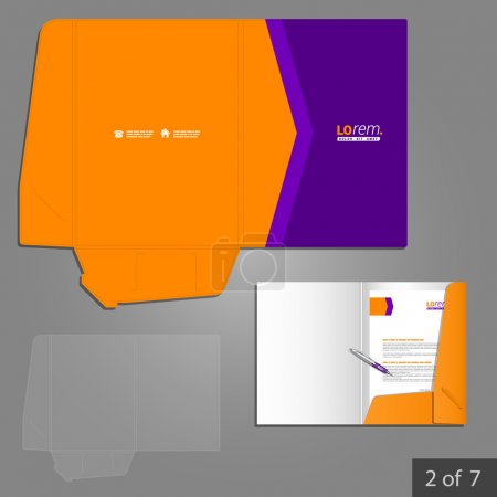 Illustration for Corporate identity. Editable corporate identity template. Purple folder template design for company with orange arrow. Element of stationery. - Royalty Free Image