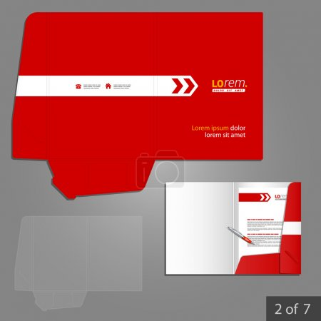 Illustration for Corporate identity. Editable corporate identity template. Red folder template design for company with white arrow. Element of stationery. - Royalty Free Image