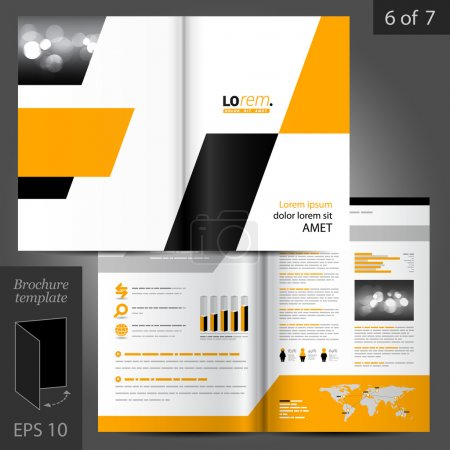 Illustration for Geometric vector brochure template design with yellow and black square elements - Royalty Free Image