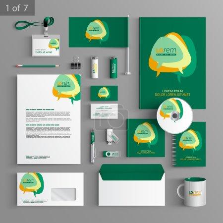 Illustration pour Identité d'entreprise. modèle modifiable identité corporative. modèle de conception verte papeterie avec les nuages de la boîte de dialogue. documentation pour les entreprises. - image libre de droit
