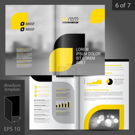 Illustration for Business vector brochure template design with city, black and yellow geometric elements - Royalty Free Image