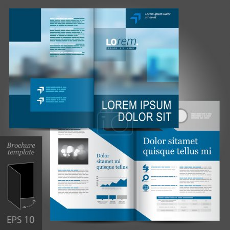 Illustration for Blue business vector brochure template design with cityscape and geometric elements - Royalty Free Image
