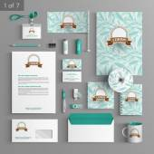 Corporate identity Editable corporate identity template Floral stationery template design with blue leaves Documentation for business