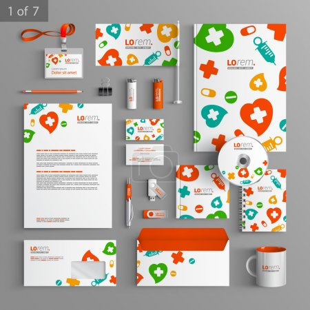 Illustration for Corporate identity. Editable corporate identity template. White stationery template design with color medical elements. Documentation for business. - Royalty Free Image