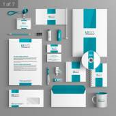 Corporate identity Editable corporate identity template White stationery template design with blue central element Documentation for business