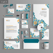 Corporate identity Editable corporate identity template White stationery template design with blue cogwheels and details of mechanism Documentation for business