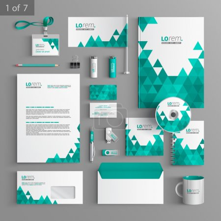 Illustration for Corporate identity. Editable corporate identity template. White stationery template design with green triangles. Documentation for business. - Royalty Free Image