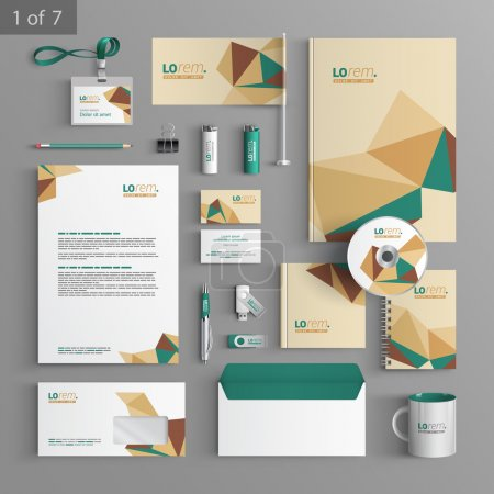 Illustration for Corporate identity. Editable corporate identity template. Vector stationery template design with origami elements. Documentation for business. - Royalty Free Image