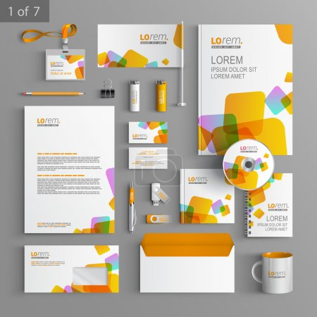 Illustration for Corporate identity. Editable corporate identity template. White stationery template design with yellow square elements. Documentation for business. - Royalty Free Image
