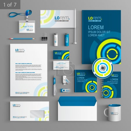 Illustration for Corporate identity. Editable corporate identity template. Blue stationery template design with green round digital elements. Documentation for business. - Royalty Free Image