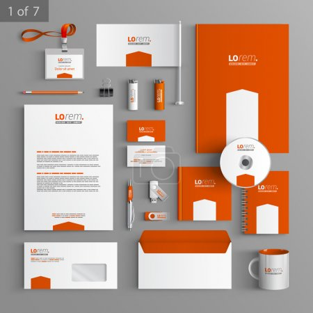Illustration for Corporate identity. Editable corporate identity template. Orange stationery template design with white arrow. Documentation for business. - Royalty Free Image