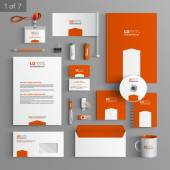 Corporate identity Editable corporate identity template Orange stationery template design with white arrow Documentation for business