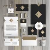 Classic black corporate identity template design with rhombus Business stationery