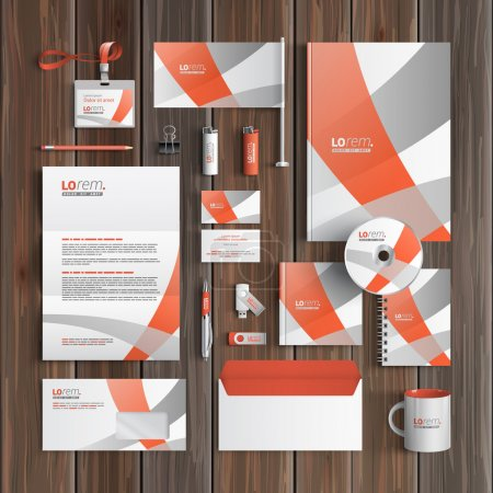 Illustration for White corporate identity template design with gray and red art elements. Business stationery - Royalty Free Image