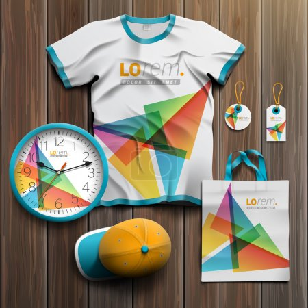 Illustration for White creative promotional souvenirs design for corporate identity with color triangles. Stationery set - Royalty Free Image