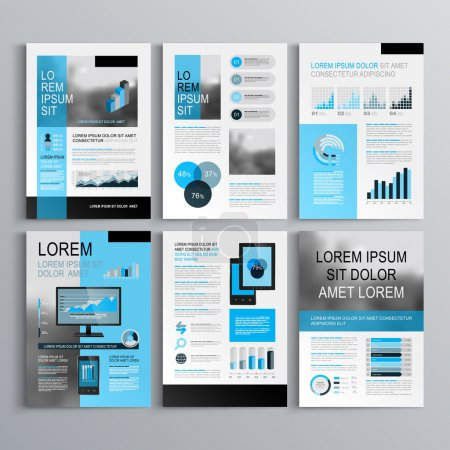 Illustration for Classic brochure template design with blue shapes. Cover layout and infographics - Royalty Free Image