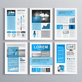 Classic brochure template design with blue and gray shapes Cover layout and infographics
