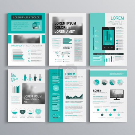 Illustration for Classic green brochure template design with square horizontal shapes. Cover layout and infographics - Royalty Free Image