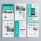 Classic green brochure template design with square horizontal shapes Cover layout and infographics