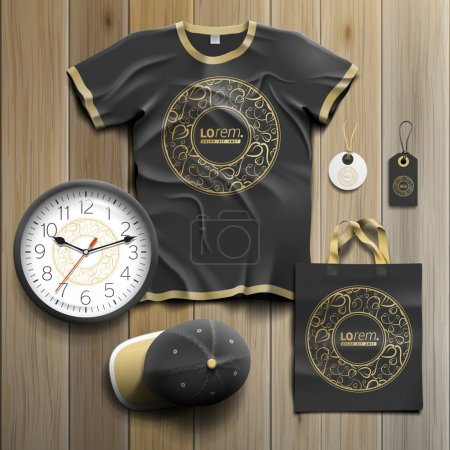 Illustration for Black promotional souvenirs design for corporate identity with round golden element and floral pattern. Stationery set - Royalty Free Image