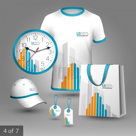 Illustration for White promotional souvenirs design for corporate identity with orange and blue building elements. Stationery set - Royalty Free Image