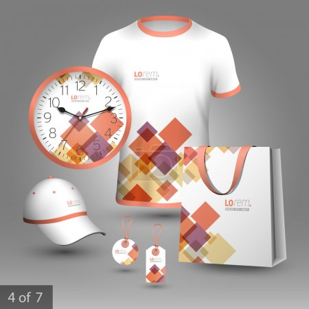 Illustration for White promotional souvenirs design for corporate identity with red and purple geometric elements. Stationery set - Royalty Free Image