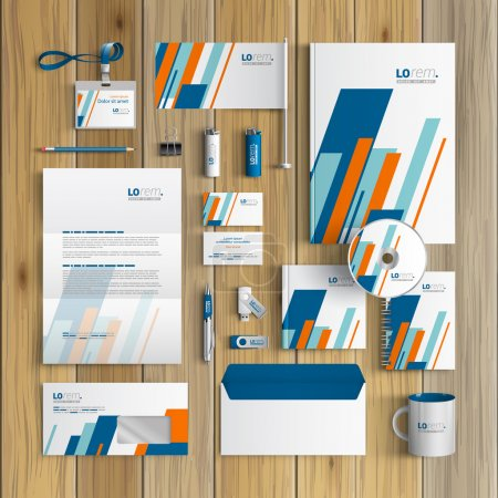 Illustration for White corporate identity template design with blue and orange diagonal shapes. Business stationery - Royalty Free Image