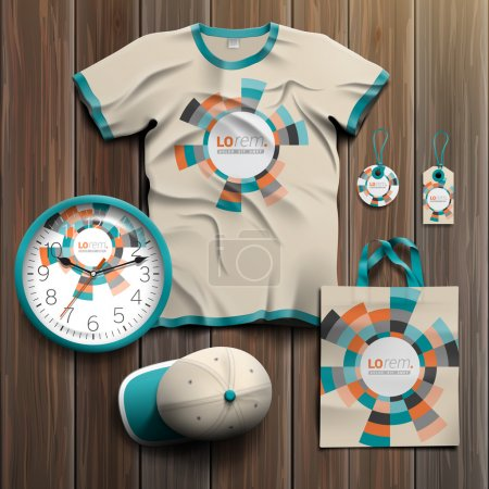 Illustration for Color promotional souvenirs design for corporate identity with round geometric elements. Stationery set - Royalty Free Image