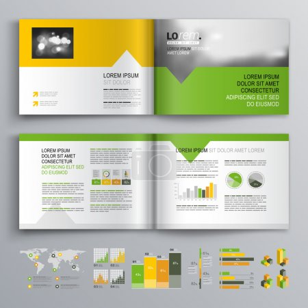 Illustration for White brochure template design with green, orange and yellow shapes. Cover layout and infographics - Royalty Free Image