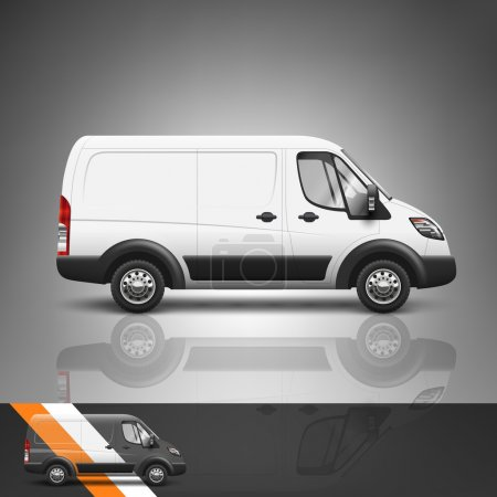 Illustration for Template for advertising and corporate identity. Transport. Bus. Blank mockup for design. Vector white object - Royalty Free Image