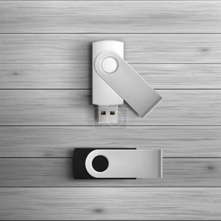 Blank black and white USB flash drives