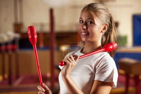 Teenage girl on gymnastic training